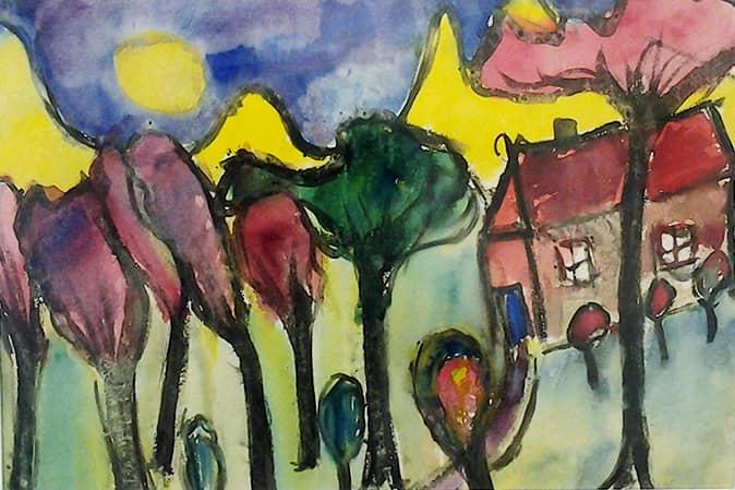 Aquarell Bäume mit Haus bunt, Robert Wolfgang Schnell