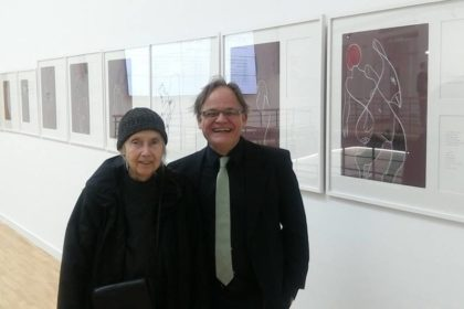 Aldona Gustas and detlef gericke previewing the exhibition Mundfrauen in Vilnius