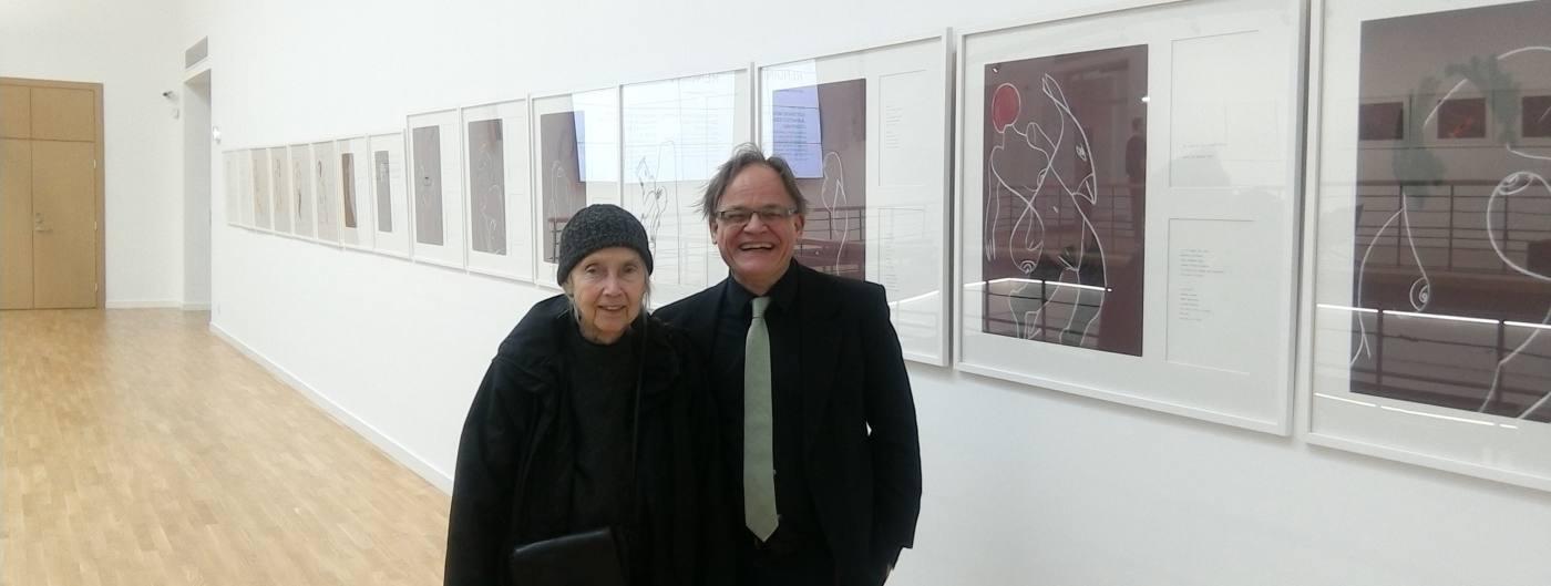 Aldona Gustas and detlef gericke previewing the exhibition Mundfrauen in Vilnius