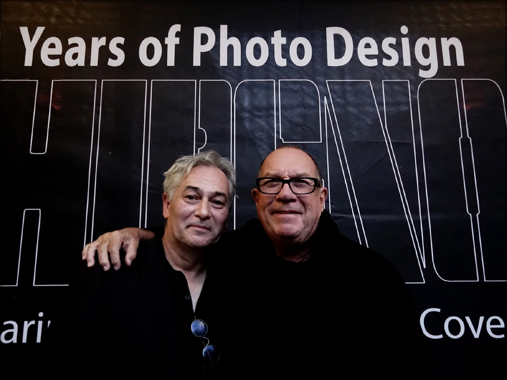 Creative Director Pink Floyd and founder of Hipgnosis, Aubrey Powell with John Colton, Director Browse Gallery, in front of the entrance to the exhibition. Photo: Jan Sobottka