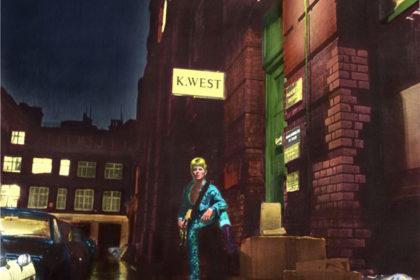 David Bowie, Ziggy Stardust, limited edition print,colour artwork copyright Terry Pastor, photo Brian Ward, Look WHo's Come For Tea! exhibition poster, courtesy Browse Gallery