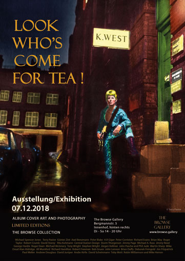 Exhibition poster Look Who's Come Tor Tea! David Bowie, Ziggy Stardust, Album Cover Art © Terry Pastor, Photo Brian Ward